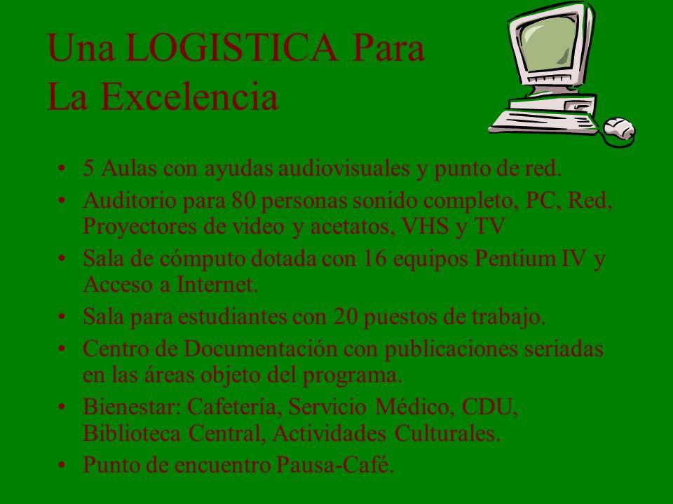 Una LOGISTICA Para La Excelencia 5 Aulas con ayudas audiovisuales y punto de red.