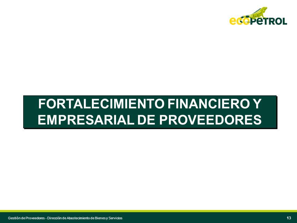 Gestión de Proveedores - Dirección de Abastecimiento de Bienes y Servicios 13 FORTALECIMIENTO FINANCIERO Y EMPRESARIAL DE PROVEEDORES