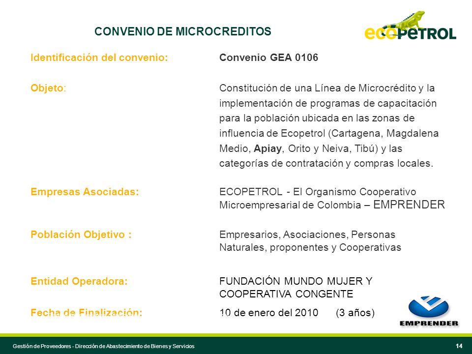 14 CONVENIO DE MICROCREDITOS Identificación del convenio: Convenio GEA 0106 Objeto: Constitución de una Línea de Microcrédito y la implementación de p