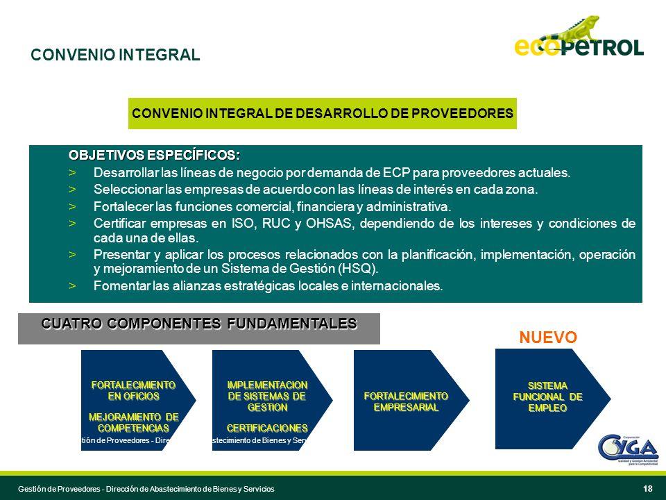 18 CONVENIO INTEGRAL DE DESARROLLO DE PROVEEDORES OBJETIVOS ESPECÍFICOS: > Desarrollar las líneas de negocio por demanda de ECP para proveedores actua