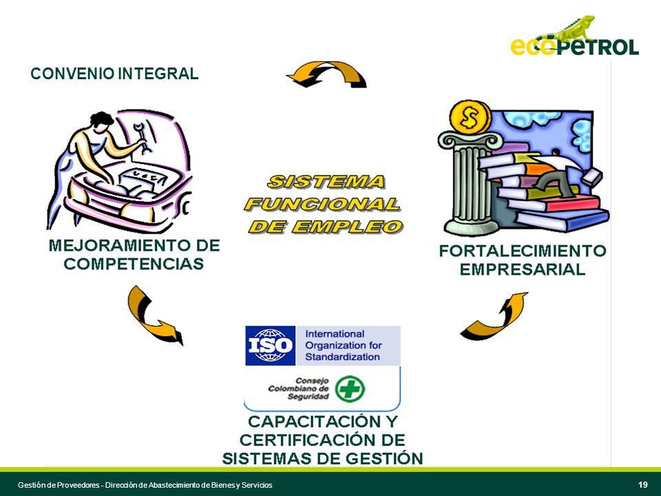 Comité Local Gestión de Proveedores 19 CONVENIO INTEGRAL Gestión de Proveedores - Dirección de Abastecimiento de Bienes y Servicios
