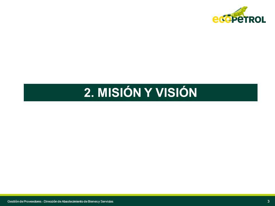 Espacio para reproducir el título de la presentación que va en la portada 3 Normas para agendas extensas 2. MISIÓN Y VISIÓN Gestión de Proveedores - D