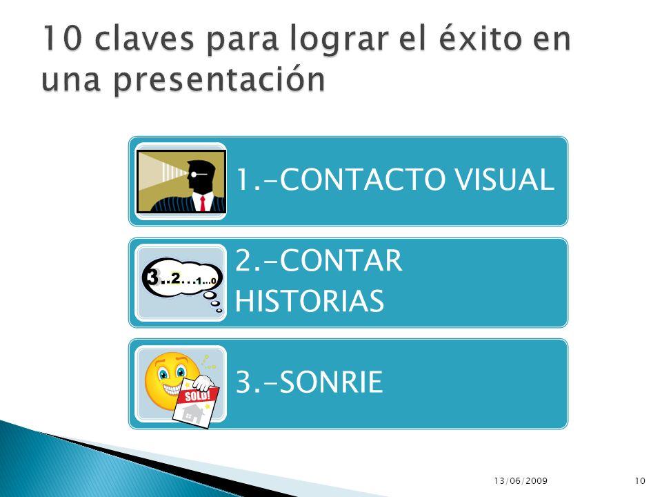 1.-CONTACTO VISUAL 2.-CONTAR HISTORIAS 3.-SONRIE 13/06/200910