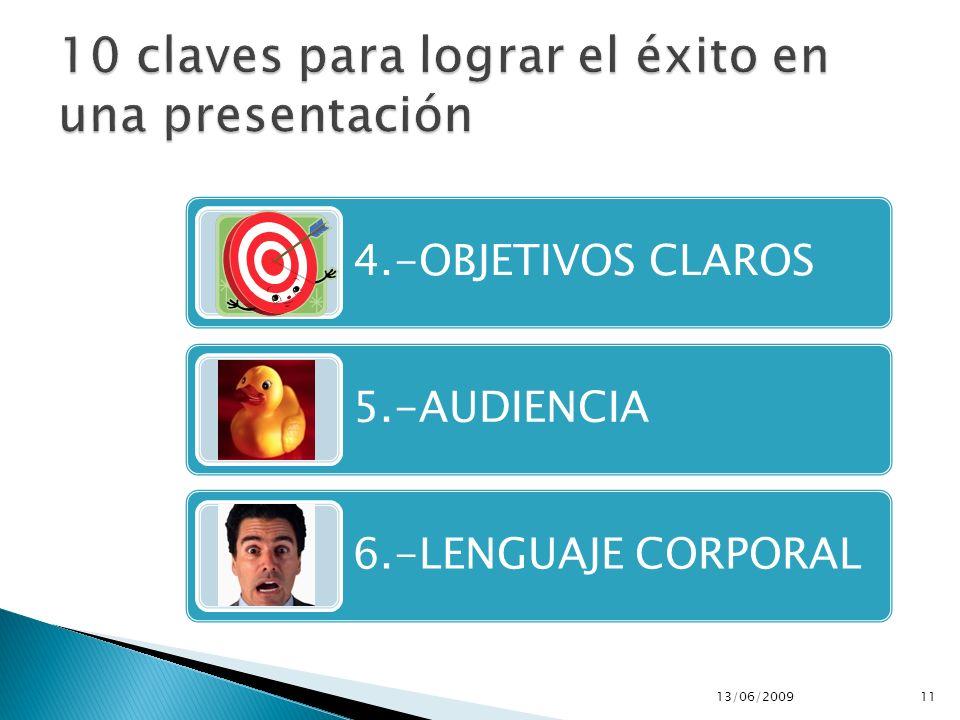 4.-OBJETIVOS CLAROS 5.-AUDIENCIA 6.-LENGUAJE CORPORAL 13/06/200911