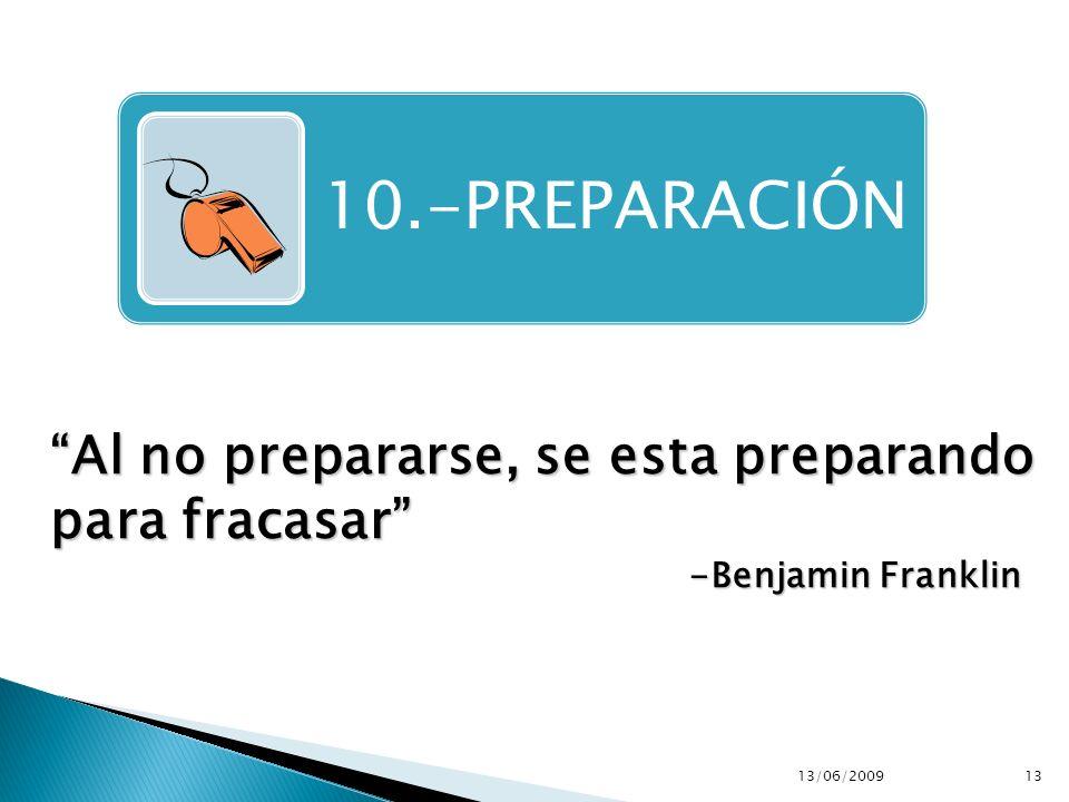 Al no prepararse, se esta preparando para fracasar -Benjamin Franklin 10.-PREPARACIÓN 13/06/200913