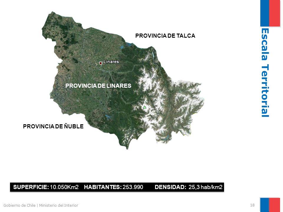 18 Gobierno de Chile | Ministerio del Interior PROVINCIA DE TALCA PROVINCIA DE LINARES SUPERFICIE: 10.050Km2 HABITANTES: 253.990DENSIDAD: 25,3 hab/km2 Escala Territorial PROVINCIA DE ÑUBLE