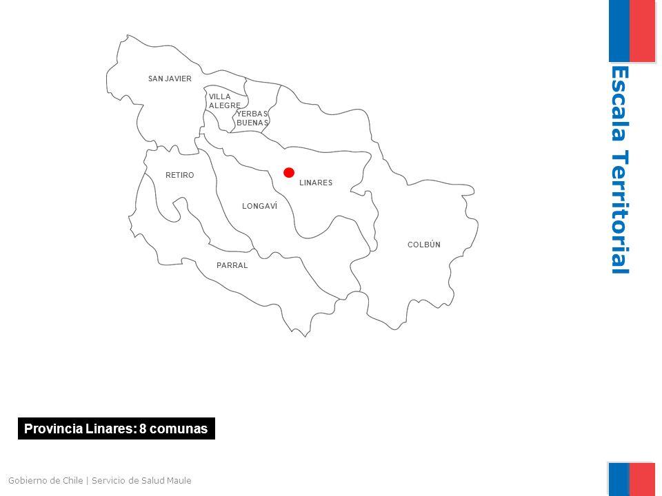 Provincia Linares: 8 comunas Escala Territorial Gobierno de Chile | Servicio de Salud Maule LINARES RETIRO PARRAL LONGAVÍ COLBÚN VILLA ALEGRE YERBAS BUENAS SAN JAVIER