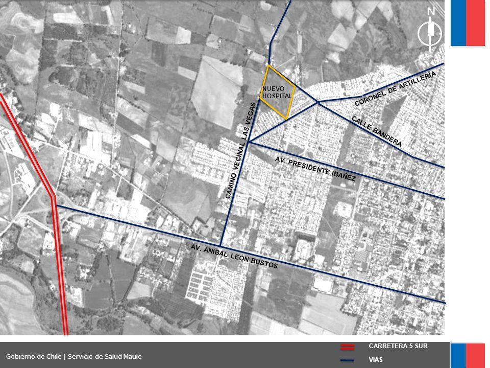 Conexiones viales del terreno VIAS CARRETERA 5 SUR Gobierno de Chile | Servicio de Salud Maule AV.