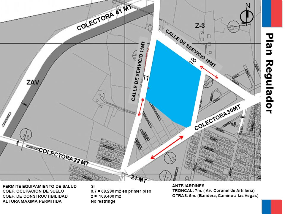 Características del terreno CALLE DE SERVICIO 18MT N COLECTORA 41 MT COLECTORA 22 MT 21 MT CALLE DE SERVICIO 11MT PERMITE EQUIPAMIENTO DE SALUD COEF.