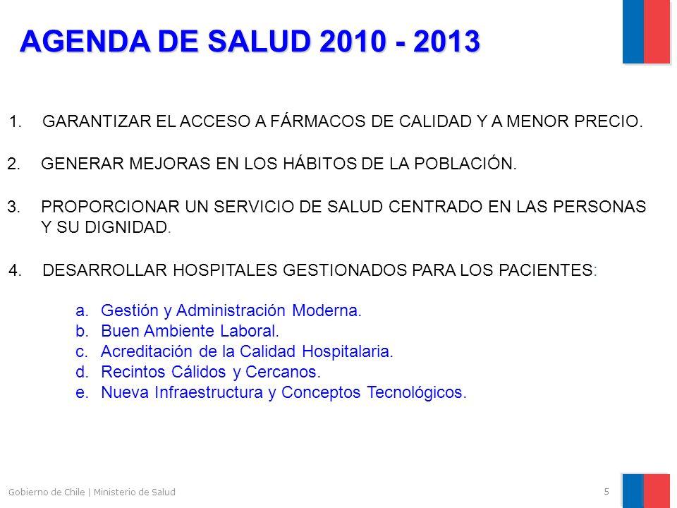 5 Gobierno de Chile | Ministerio de Salud AGENDA DE SALUD 2010 - 2013 1.GARANTIZAR EL ACCESO A FÁRMACOS DE CALIDAD Y A MENOR PRECIO.