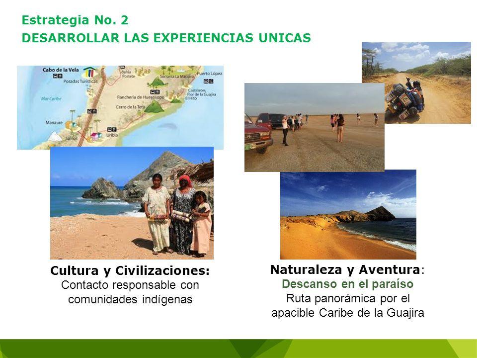 Estrategia No. 2 DESARROLLAR LAS EXPERIENCIAS UNICAS Cultura y Civilizaciones: Contacto responsable con comunidades indígenas Naturaleza y Aventura: D