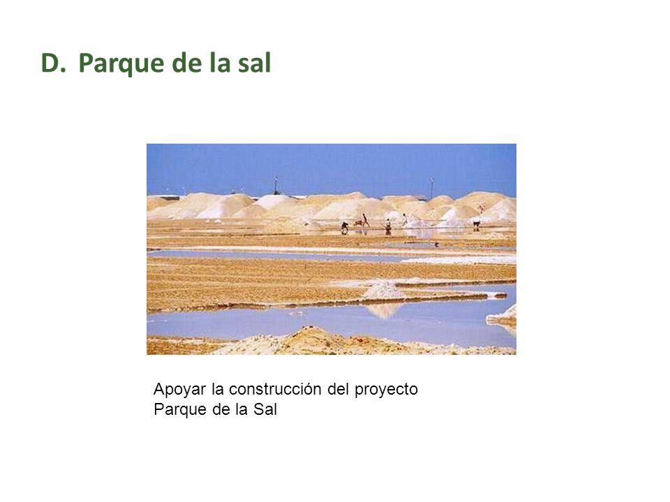 D.Parque de la sal Apoyar la construcción del proyecto Parque de la Sal