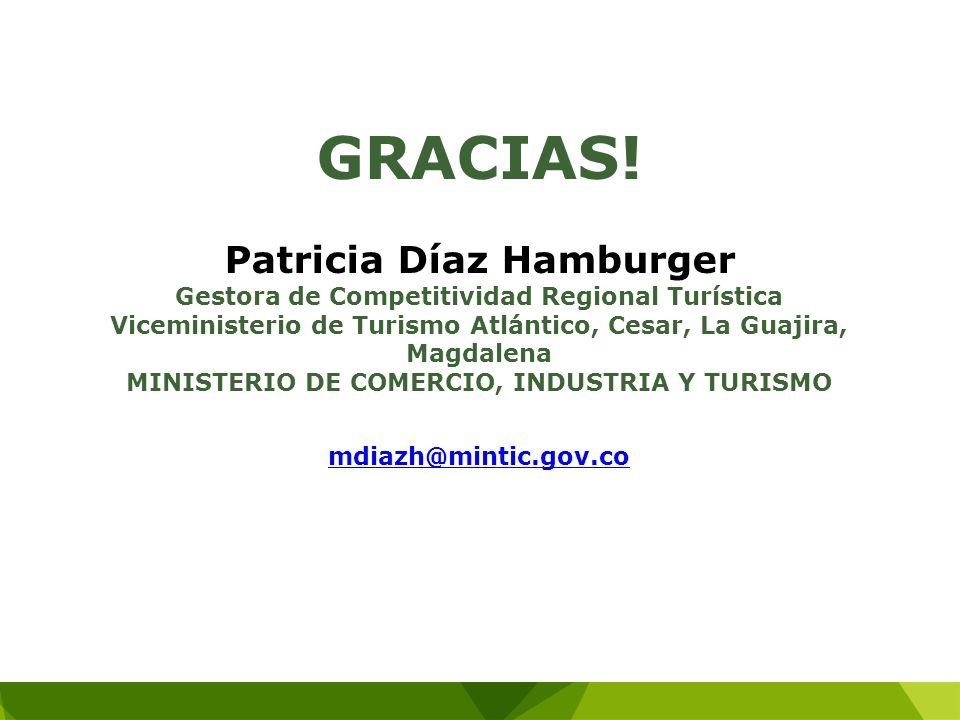 GRACIAS! Patricia Díaz Hamburger Gestora de Competitividad Regional Turística Viceministerio de Turismo Atlántico, Cesar, La Guajira, Magdalena MINIST