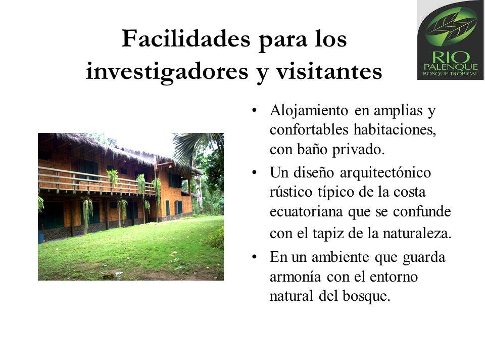 Facilidades para los investigadores y visitantes Alojamiento en amplias y confortables habitaciones, con baño privado. Un diseño arquitectónico rústic