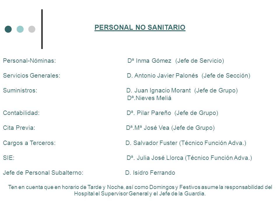 PERSONAL NO SANITARIO Personal-Nóminas: Dª Inma Gómez (Jefe de Servicio) Servicios Generales: D. Antonio Javier Palonés (Jefe de Sección) Suministros: