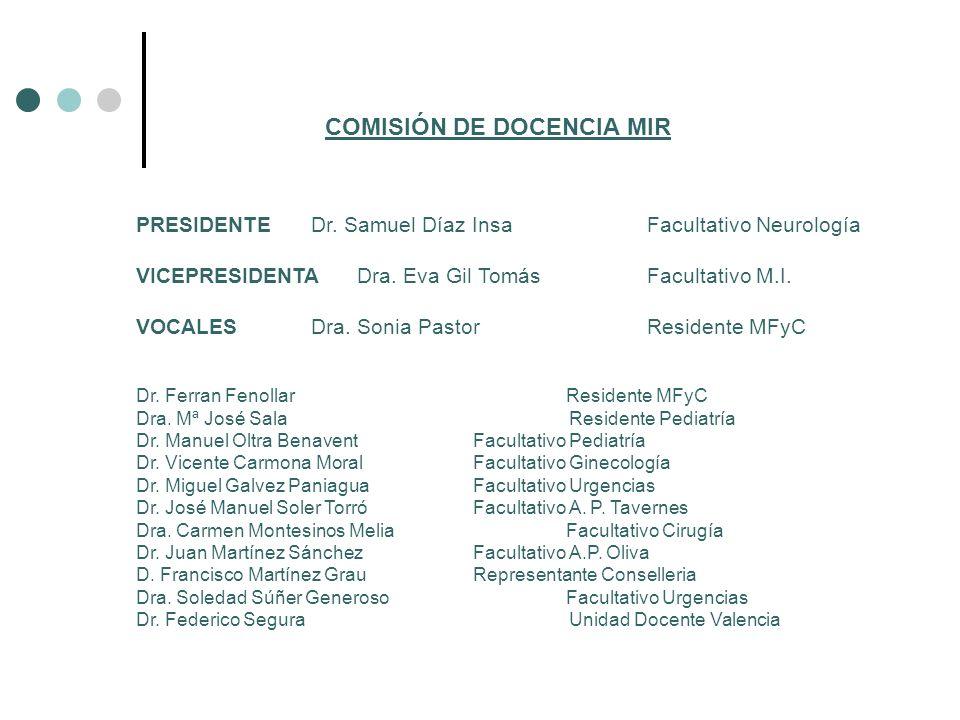 COMISIÓN DE DOCENCIA MIR PRESIDENTE Dr. Samuel Díaz Insa Facultativo Neurología VICEPRESIDENTA Dra. Eva Gil Tomás Facultativo M.I. VOCALES Dra. Sonia