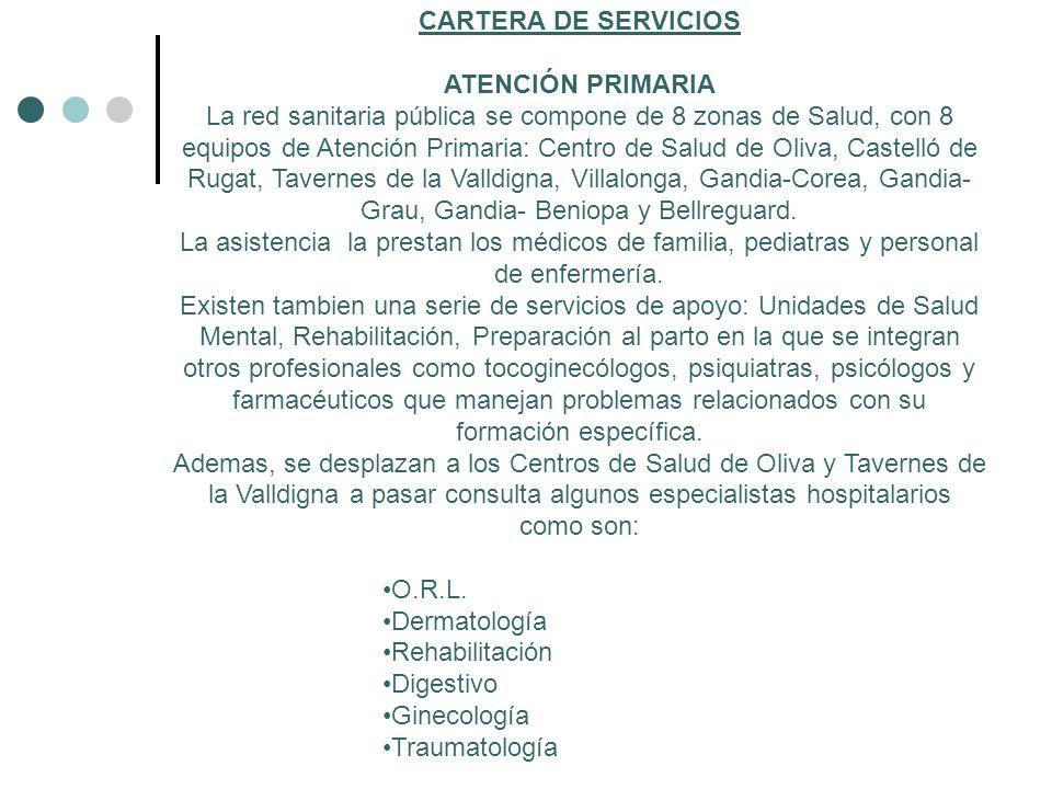 CARTERA DE SERVICIOS ATENCIÓN PRIMARIA La red sanitaria pública se compone de 8 zonas de Salud, con 8 equipos de Atención Primaria: Centro de Salud de