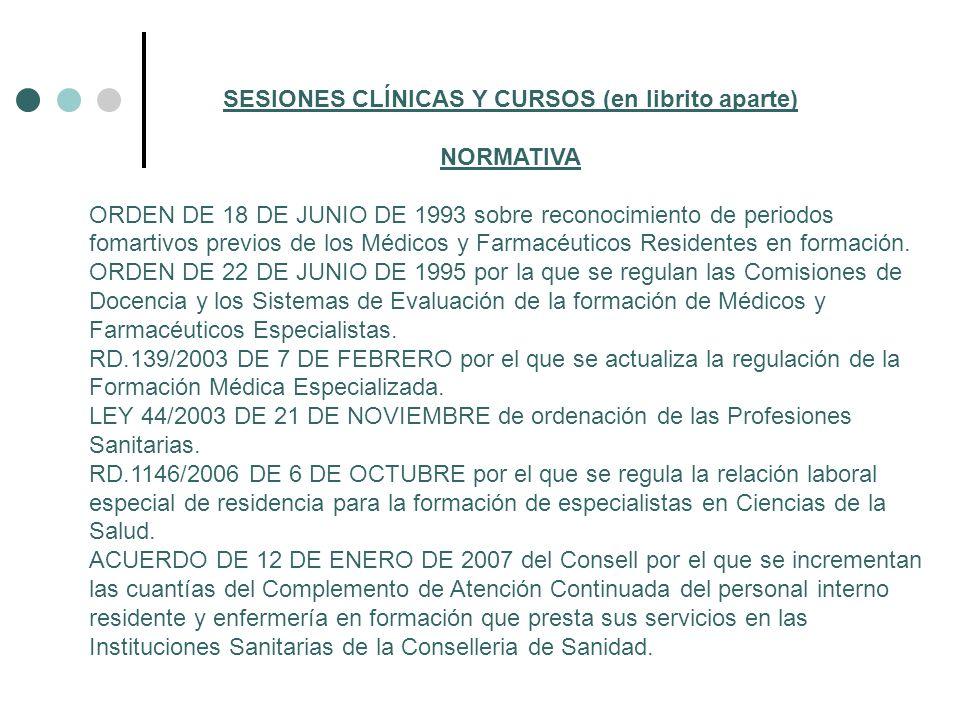 SESIONES CLÍNICAS Y CURSOS (en librito aparte) NORMATIVA ORDEN DE 18 DE JUNIO DE 1993 sobre reconocimiento de periodos fomartivos previos de los Médic