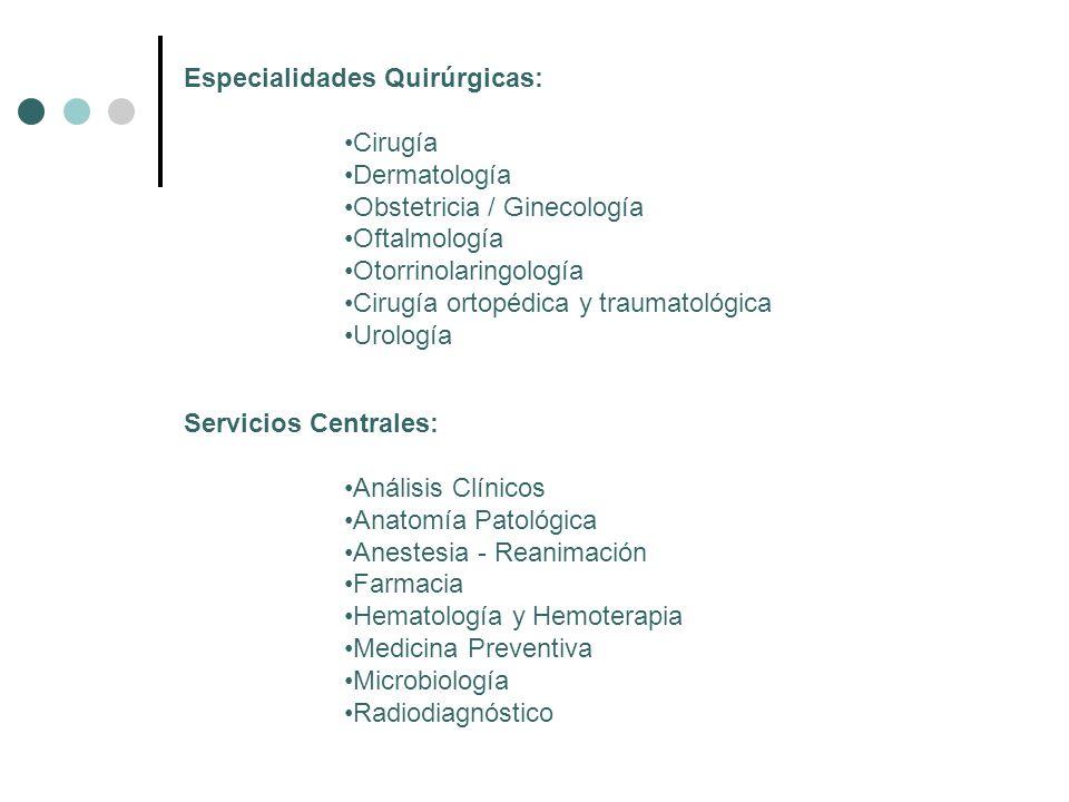 Especialidades Quirúrgicas: Cirugía Dermatología Obstetricia / Ginecología Oftalmología Otorrinolaringología Cirugía ortopédica y traumatológica Urolo