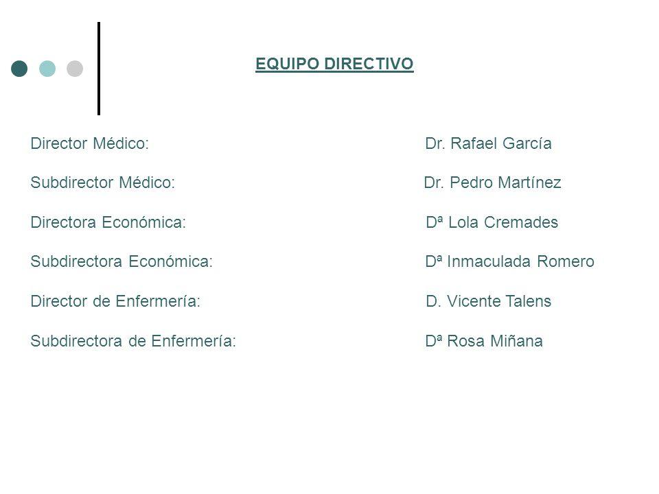 EQUIPO DIRECTIVO Director Médico: Dr. Rafael García Subdirector Médico: Dr. Pedro Martínez Directora Económica: Dª Lola Cremades Subdirectora Económic