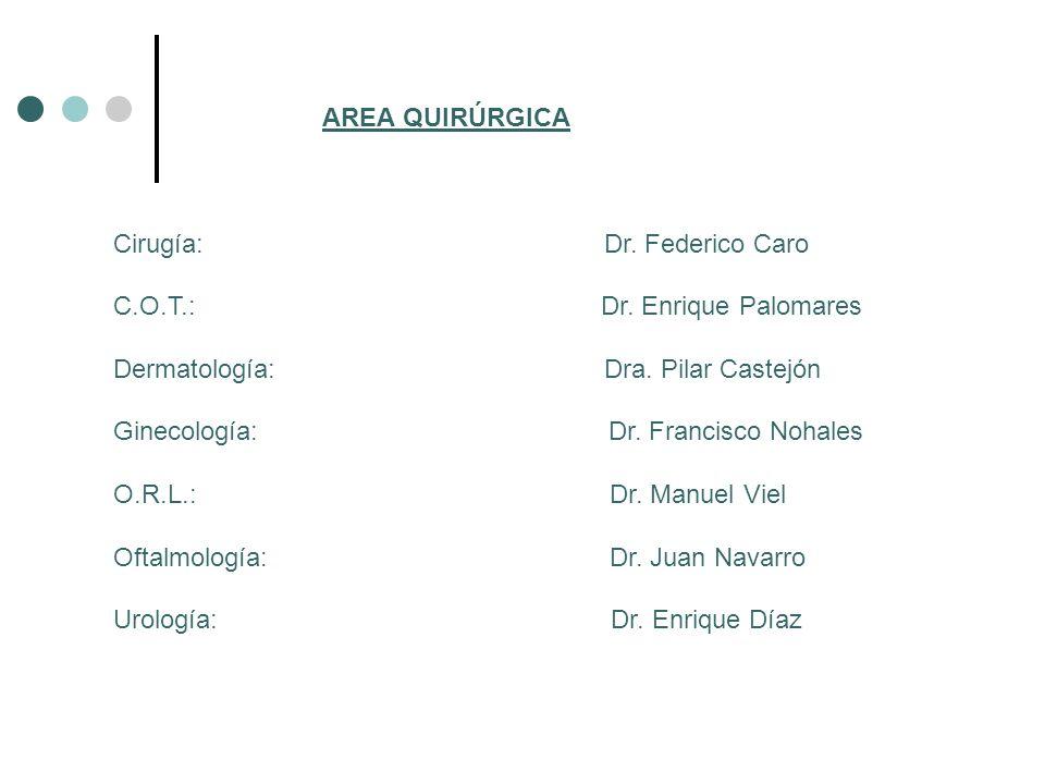 AREA QUIRÚRGICA Cirugía: Dr. Federico Caro C.O.T.: Dr. Enrique Palomares Dermatología: Dra. Pilar Castejón Ginecología: Dr. Francisco Nohales O.R.L.:
