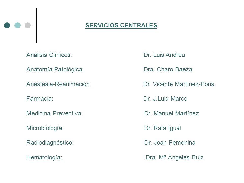 SERVICIOS CENTRALES Análisis Clínicos: Dr. Luis Andreu Anatomía Patológica: Dra. Charo Baeza Anestesia-Reanimación: Dr. Vicente Martínez-Pons Farmacia