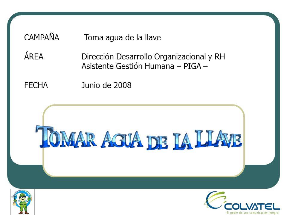 CAMPAÑA Toma agua de la llave ÁREADirección Desarrollo Organizacional y RH Asistente Gestión Humana – PIGA – FECHAJunio de 2008