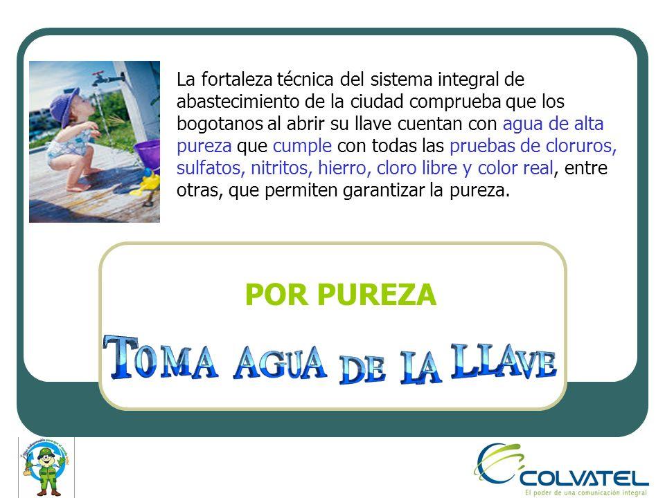 El Acueducto de Bogotá suministra agua de excelente calidad, con el fin de cumplir con la reglamentación vigente y de suministrar un servicio confiable.