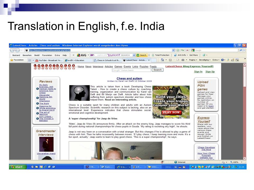Translation in English, f.e. India