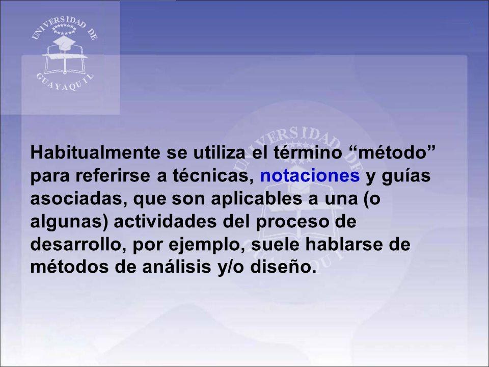 Habitualmente se utiliza el término método para referirse a técnicas, notaciones y guías asociadas, que son aplicables a una (o algunas) actividades d
