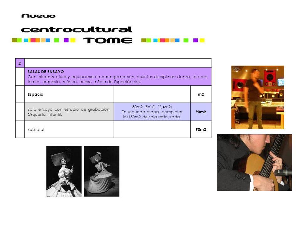 2 SALAS DE ENSAYO Con infraestructura y equipamiento para grabación, distintas disciplinas: danza, folklore, teatro, orquesta, música, anexo a Sala de Espectáculos.
