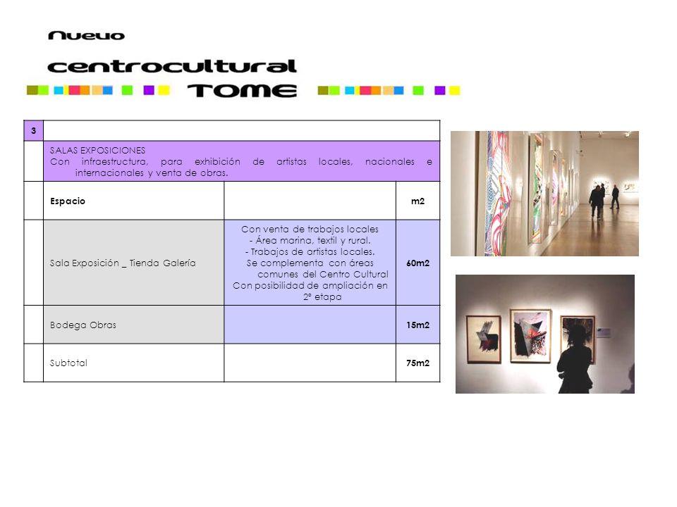 3 SALAS EXPOSICIONES Con infraestructura, para exhibición de artistas locales, nacionales e internacionales y venta de obras.