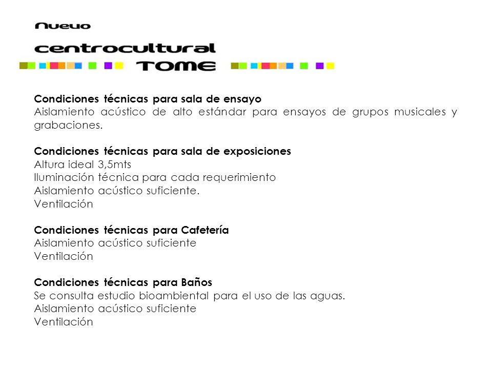 Condiciones técnicas para sala de ensayo Aislamiento acústico de alto estándar para ensayos de grupos musicales y grabaciones. Condiciones técnicas pa