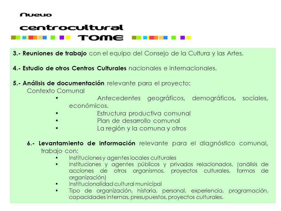 3.- Reuniones de trabajo con el equipo del Consejo de la Cultura y las Artes. 4.- Estudio de otros Centros Culturales nacionales e internacionales. 5.