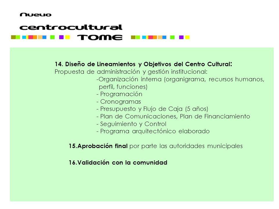 14. Diseño de Lineamientos y Objetivos del Centro Cultural : Propuesta de administración y gestión institucional: -Organización interna (organigrama,