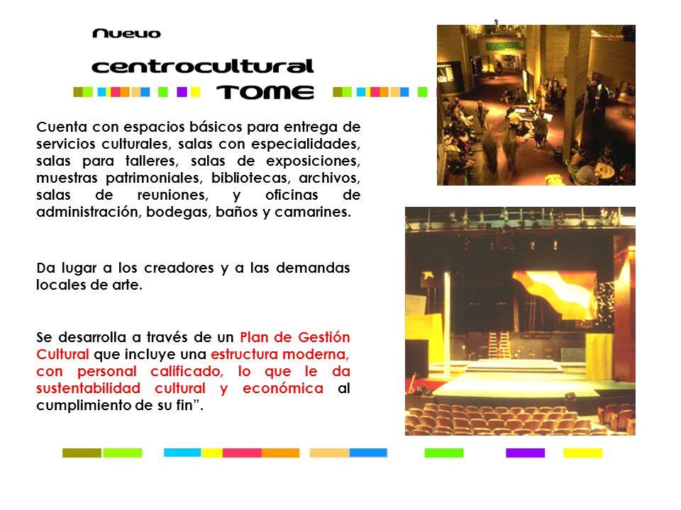 Cuenta con espacios básicos para entrega de servicios culturales, salas con especialidades, salas para talleres, salas de exposiciones, muestras patri