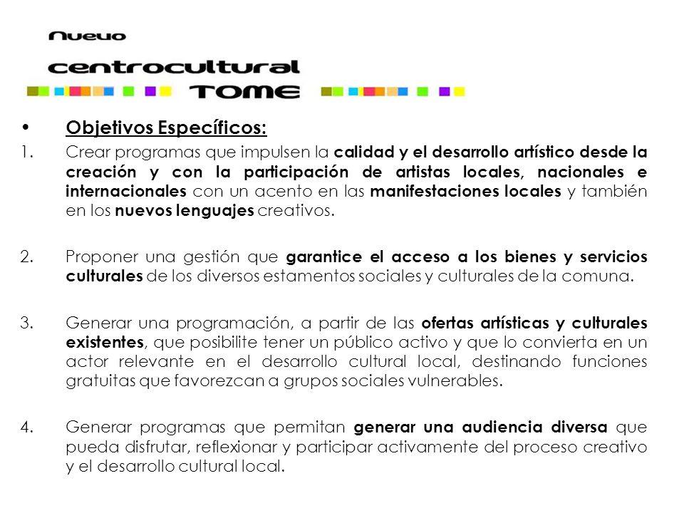 Objetivos Específicos: 1.Crear programas que impulsen la calidad y el desarrollo artístico desde la creación y con la participación de artistas locales, nacionales e internacionales con un acento en las manifestaciones locales y también en los nuevos lenguajes creativos.