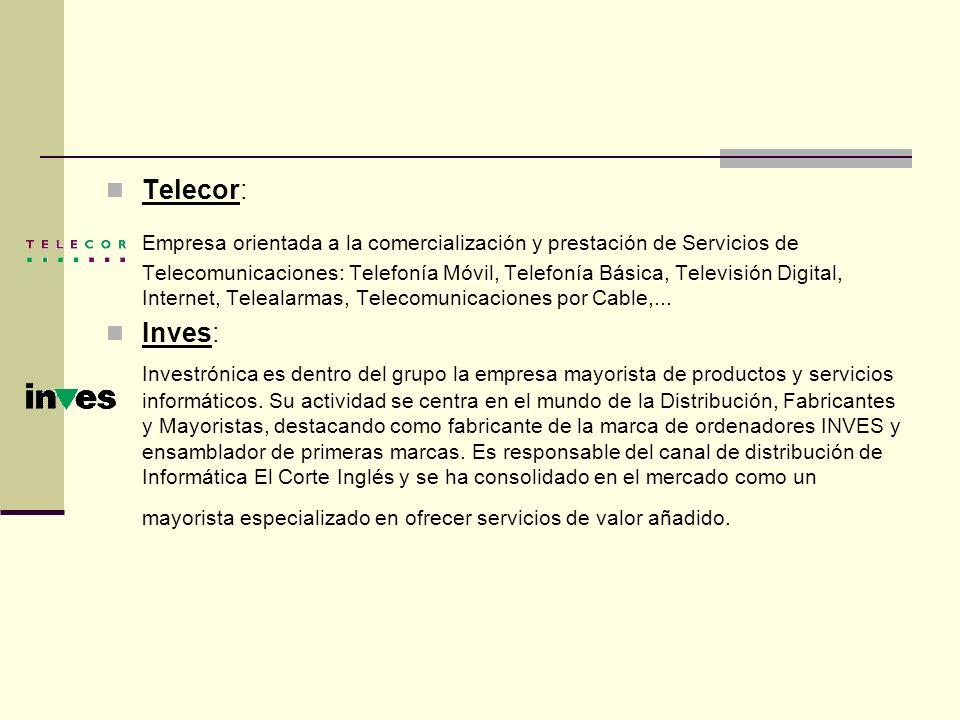 Telecor: Empresa orientada a la comercialización y prestación de Servicios de Telecomunicaciones: Telefonía Móvil, Telefonía Básica, Televisión Digita