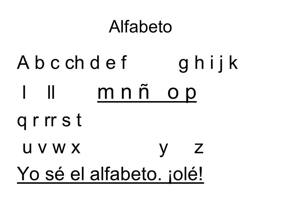 Alfabeto A b c ch d e f g h i j k l ll m n ñ o p q r rr s t u v w x y z Yo sé el alfabeto. ¡olé!