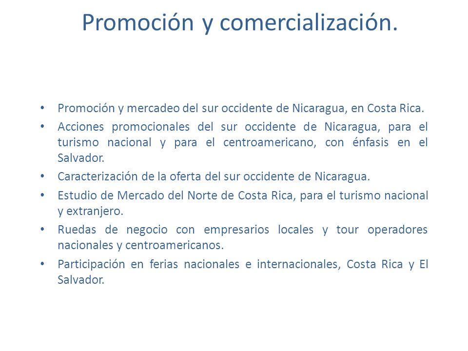 Promoción y comercialización. Promoción y mercadeo del sur occidente de Nicaragua, en Costa Rica. Acciones promocionales del sur occidente de Nicaragu