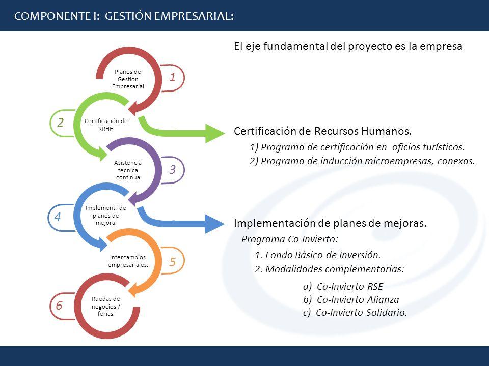6 5 4 3 2 1 COMPONENTE I: GESTIÓN EMPRESARIAL: El eje fundamental del proyecto es la empresa Certificación de Recursos Humanos. 1) Programa de certifi