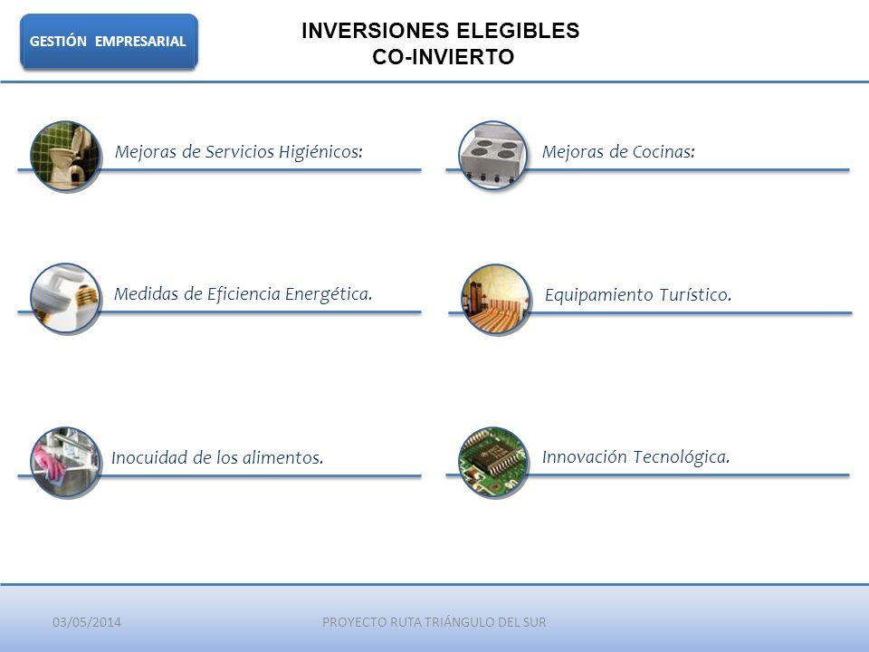 03/05/2014PROYECTO RUTA TRIÁNGULO DEL SUR GESTIÓN EMPRESARIAL INVERSIONES ELEGIBLES CO-INVIERTO Mejoras de Servicios Higiénicos:Mejoras de Cocinas: In