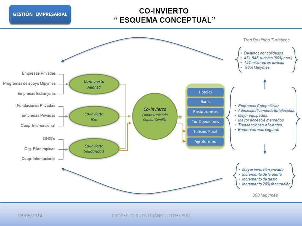 03/05/2014PROYECTO RUTA TRIÁNGULO DEL SUR GESTIÓN EMPRESARIAL CO-INVIERTO ESQUEMA CONCEPTUAL