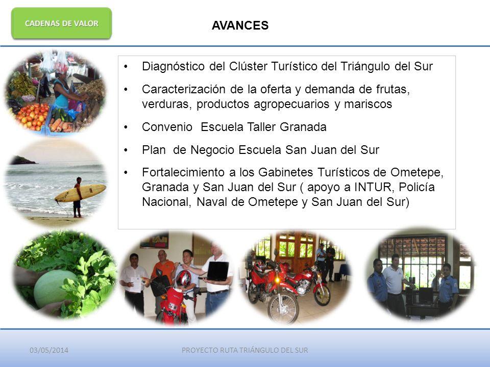 03/05/2014PROYECTO RUTA TRIÁNGULO DEL SUR AVANCES Diagnóstico del Clúster Turístico del Triángulo del Sur Caracterización de la oferta y demanda de fr