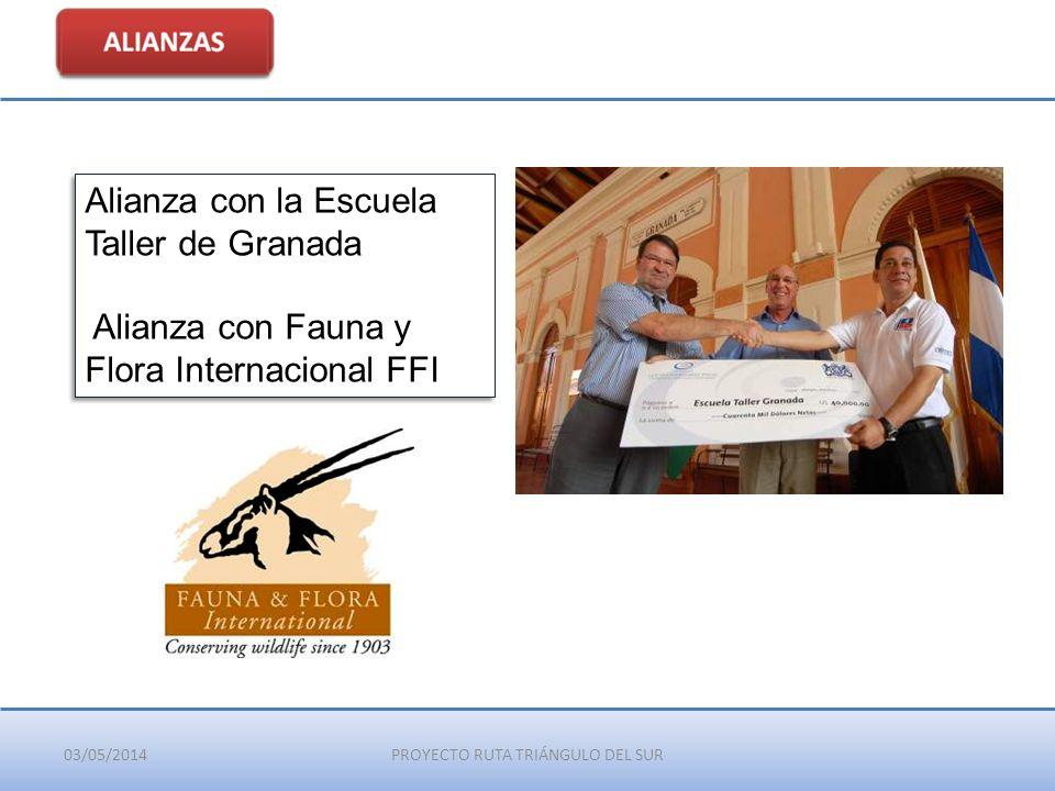 03/05/2014PROYECTO RUTA TRIÁNGULO DEL SUR Alianza con la Escuela Taller de Granada Alianza con Fauna y Flora Internacional FFI Alianza con la Escuela