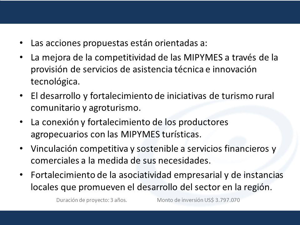 Duración de proyecto: 3 años. Monto de inversión US$ 3.797.070 Las acciones propuestas están orientadas a: La mejora de la competitividad de las MIPYM