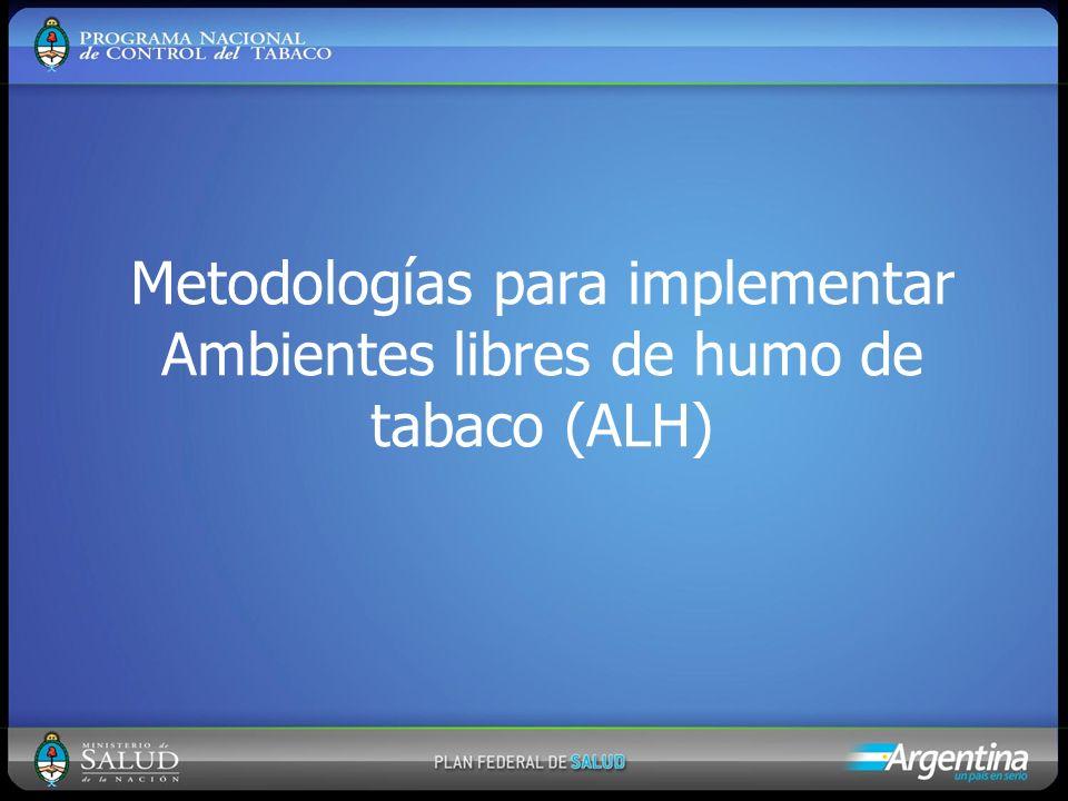 Metodologías para implementar Ambientes libres de humo de tabaco (ALH)