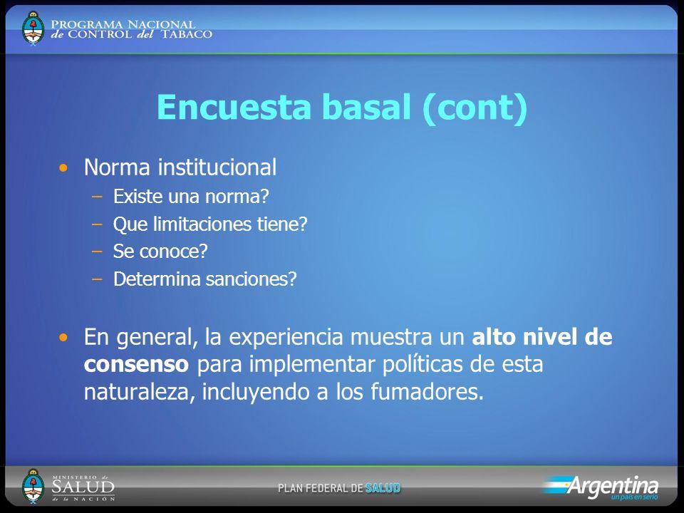 Encuesta basal (cont) Norma institucional –Existe una norma? –Que limitaciones tiene? –Se conoce? –Determina sanciones? En general, la experiencia mue