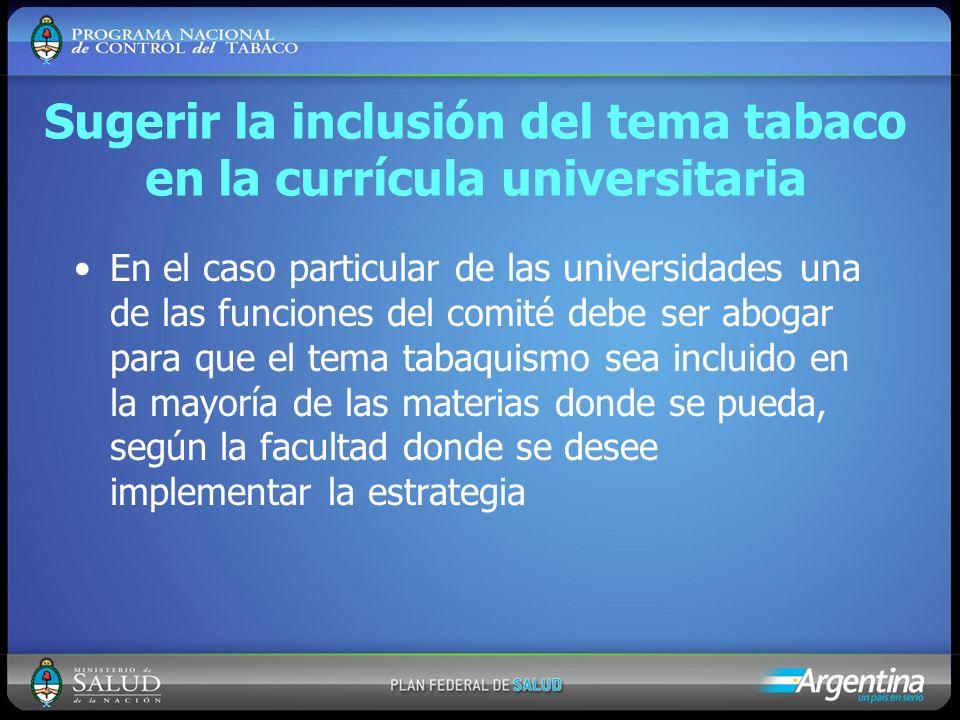 Sugerir la inclusión del tema tabaco en la currícula universitaria En el caso particular de las universidades una de las funciones del comité debe ser