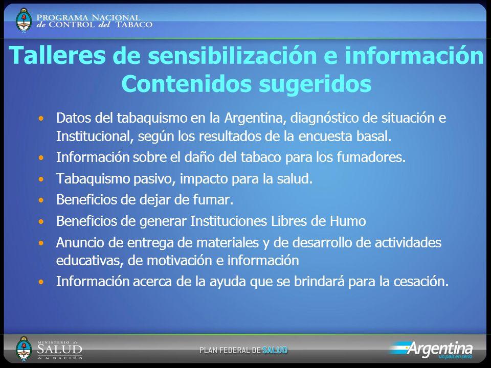 Talleres de sensibilización e información Contenidos sugeridos Datos del tabaquismo en la Argentina, diagnóstico de situación e Institucional, según l